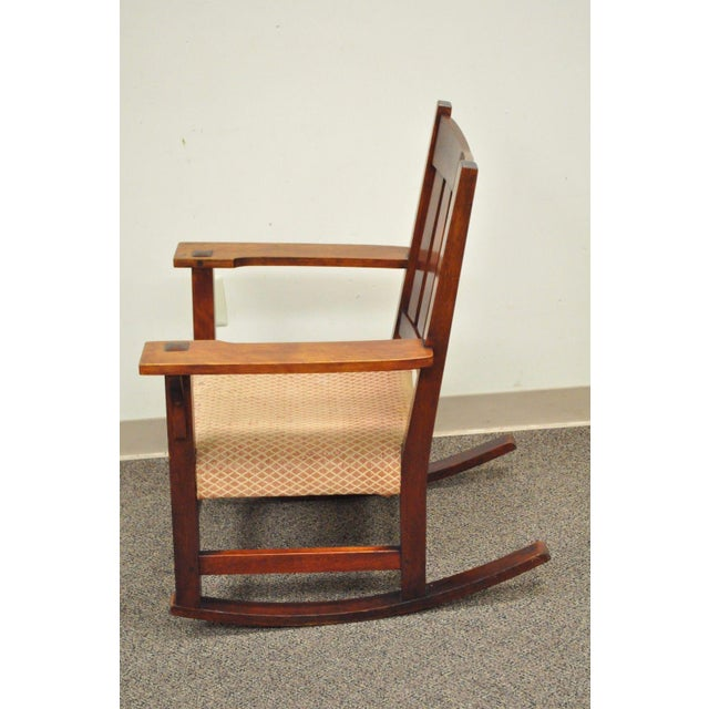 Antique Solid Maple Mission Arts & Crafts Rocker Rocking Chair Stickley Era - Image 3 of 10