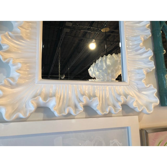 Vintage Hollywood Regency Lacquered White Ruffle Scalloped Wall Mirror For Sale - Image 9 of 12