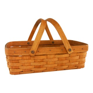 1990s Longaberger Handwoven Picnic Basket For Sale