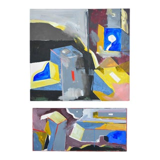 """1970s """"Entrance One"""" Collage Abstract Diptych Acrylic Paintings - a Pair For Sale"""
