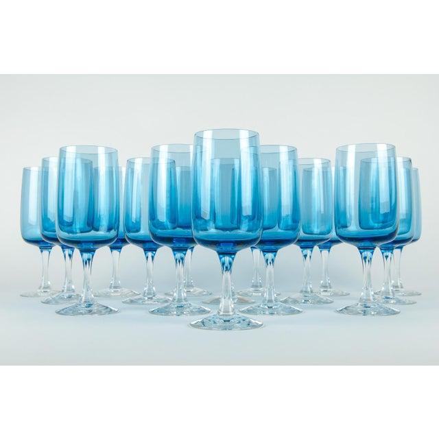 Vintage Crystal Wine / Water Barware Glasses - Set of 16 For Sale - Image 4 of 9