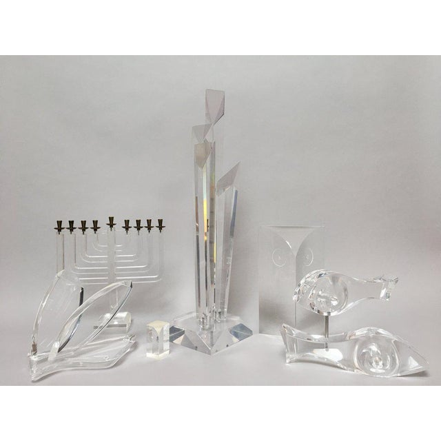 Tall Modern Geometric Lucite Sculpture For Sale - Image 10 of 11