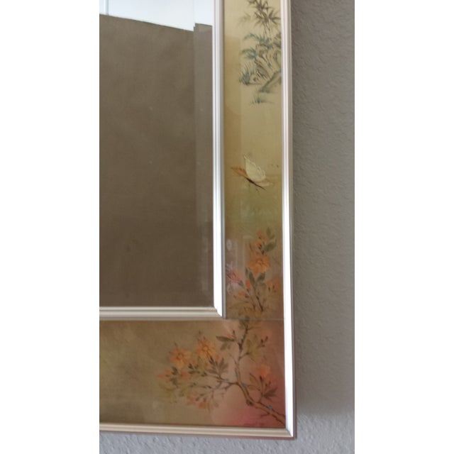 Labarge Chinoiserie Eglomise Reverse Painted Gold Leaf Mirror For Sale - Image 9 of 11