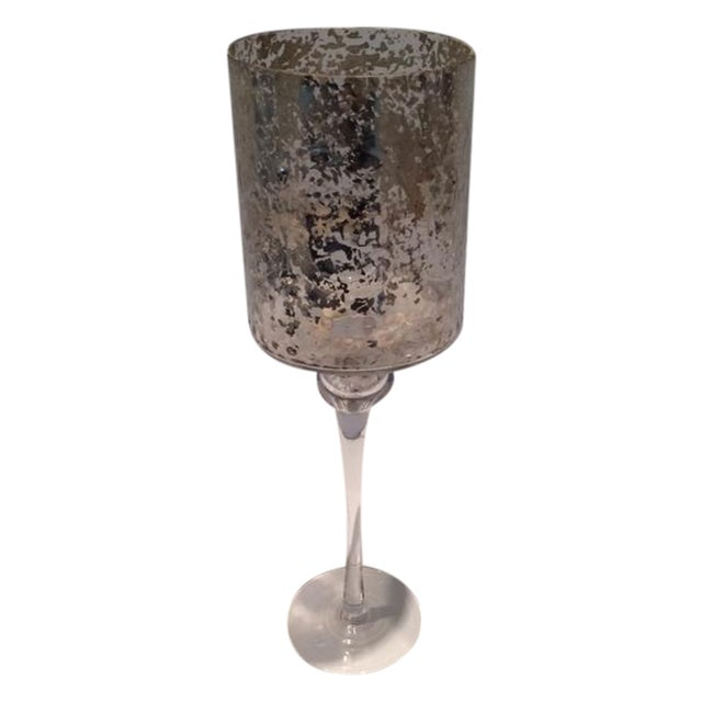 Tall Modern Cylindrical Mercury Glass Candleholder - Image 1 of 6