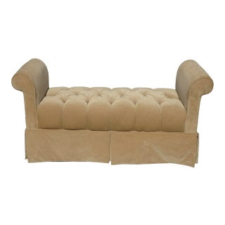 Vintage Ethan Allen French Country Bench W Tan Tufted Velvet For Sale