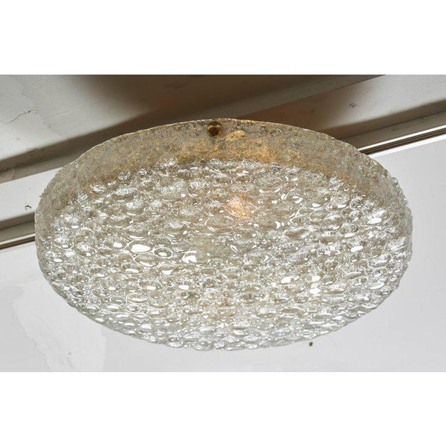 1960s Vintage Hillebrand Flush Mount Brass and Glass For Sale - Image 5 of 7