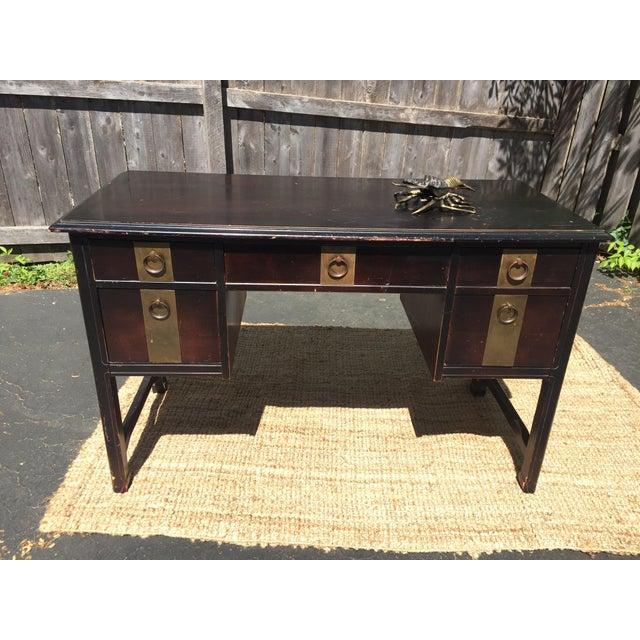 Dark Brown Vintage Bassett Desk - Image 3 of 9