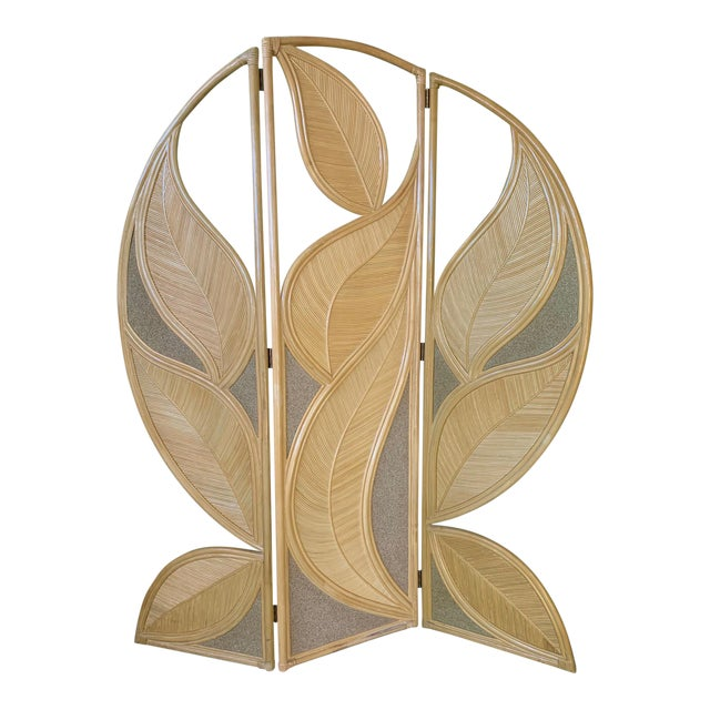 Tropical Rattan Room Divider Folding Screen For Sale