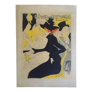 """Toulouse Lautrec Rare Vintage 1940's Original Silkscreen Print """" Divan Japonais """" 1893 For Sale"""