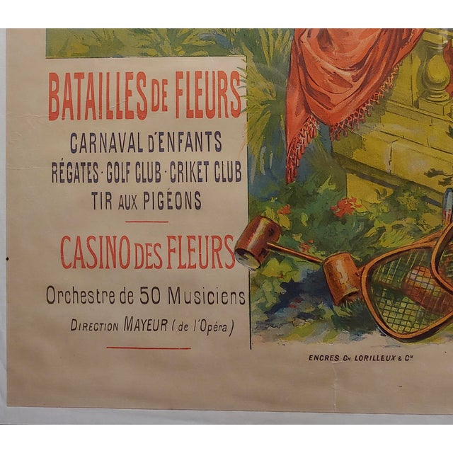 Original 1892 Cannes L'Hiver, Casino Des Fleurs French Poster For Sale In Los Angeles - Image 6 of 11