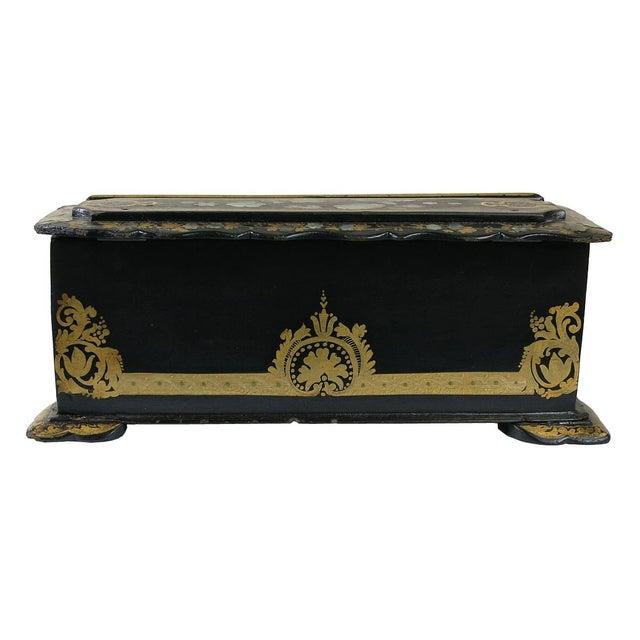 Mid 19th Century Mid 19th Century Vintage Victorian Papier Mâché Painted Inlaid Lap Desk For Sale - Image 5 of 6