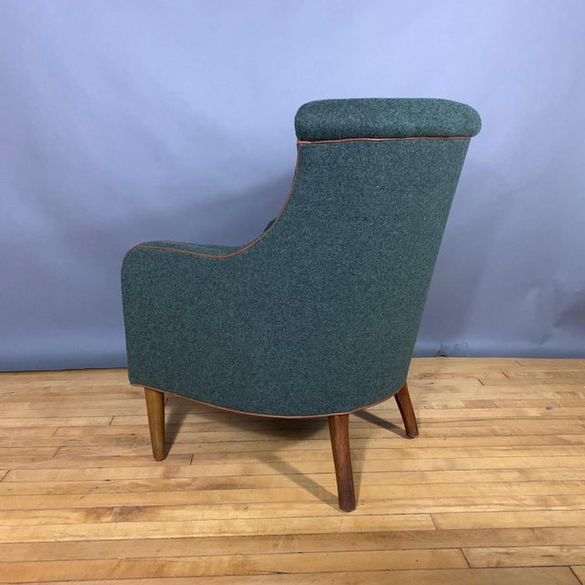 Danish 1950s Armchair, Kvadrat Felted Wool & Leather For Sale In New York - Image 6 of 10