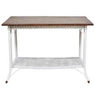Wicker Table with Shelf For Sale