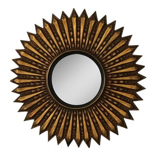Mid Century Modern Argentinian Gilded Wood Starburst Convex Wall Mirror