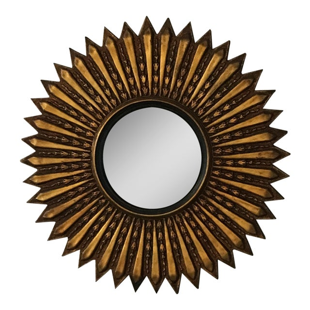 Mid Century Modern Argentinian Gilded Wood Starburst Convex Wall Mirror - Image 1 of 7