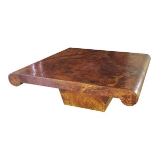 Aldo Turo Lacquered Goat Skin Coffee Table For Sale