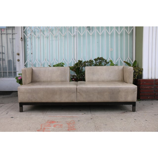 Modern Contemporary Leather Love Seat For Sale - Image 11 of 11