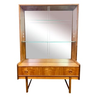 1960s Mid Century Modern Turnridge of London Teak and Glass Display Cabinet For Sale