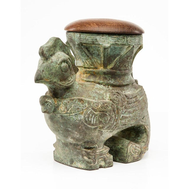 This painted Verdigris Bronze Wood Lidded Rooster Box is eye-catching with it's natural etching which is achieved over...