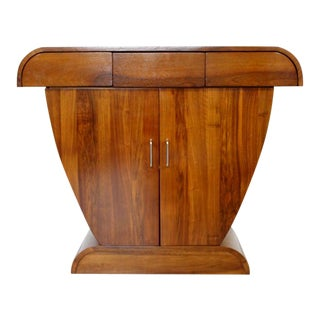 Art Deco Style De Bournais Sculptural Custom Cherry Wood Console Cabinet Table For Sale