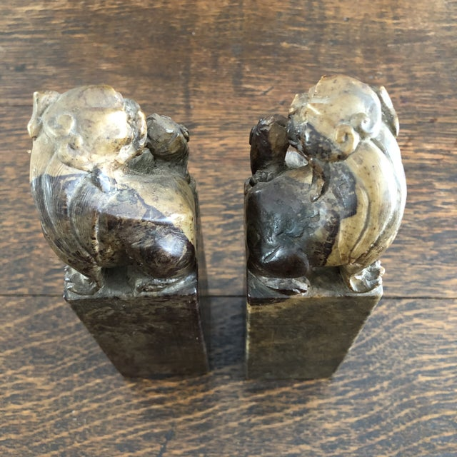 Stone 19th Century Hand Carved Brown Shoushan Soapstone Chinese Chop Seals - a Pair For Sale - Image 7 of 13