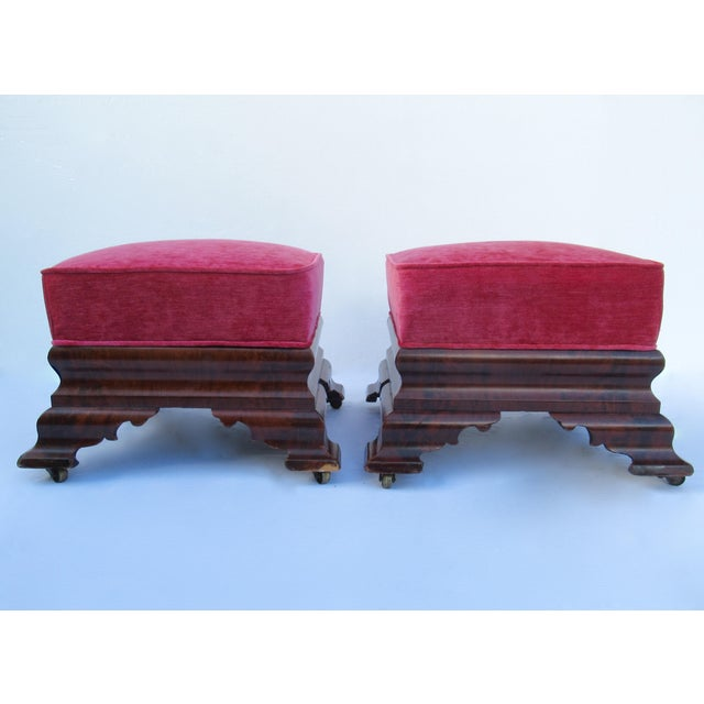 Vintage; C. 1840s-90s, original Joseph Meeks & Sons, Classical American, Empire period, burl wood mahogany, scalloped...