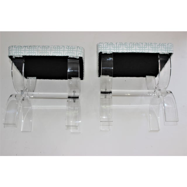 Hollis Jones Style Lucite U Benches Stools 1940s - Newly Upholstered - a Pair For Sale - Image 9 of 12