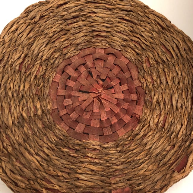 Red 20th Century Primitive Wabanaki Sweetgrass and Dyed Ash Splint Lidded Basket For Sale - Image 8 of 13