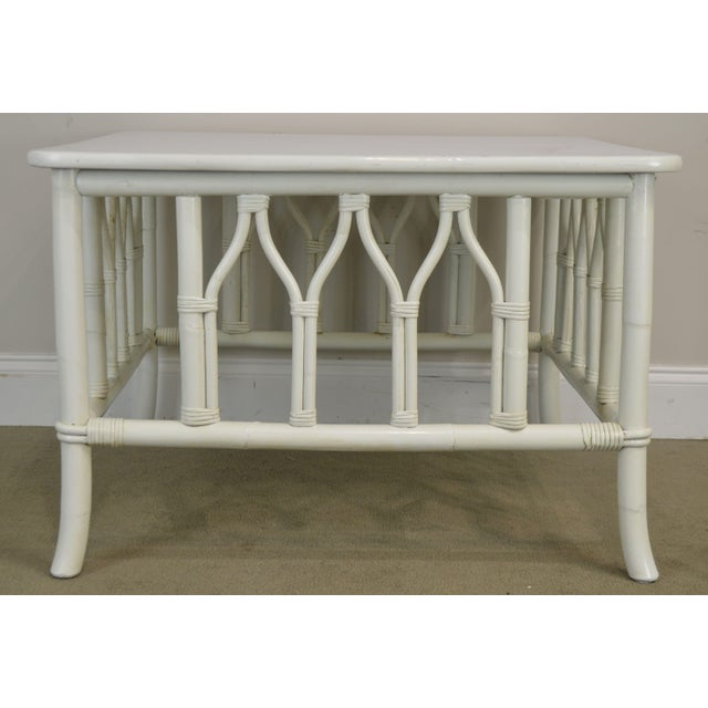 Ficks Reed White Painted Square Rattan Coffee Table For Sale - Image 10 of 13
