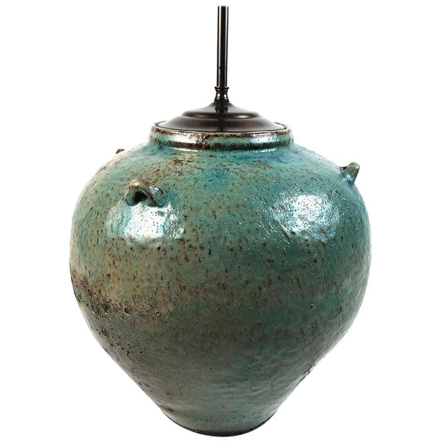 Large Green Glazed Art Pottery Lamp For Sale