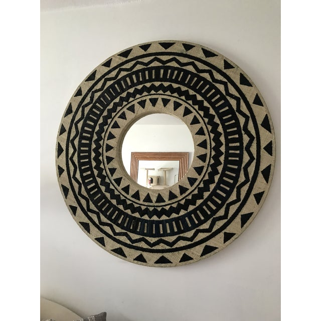 Tribal Chic Round Grasscloth Mirror For Sale In New York - Image 6 of 6