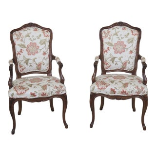 1970s Vintage Karges French Style Open Arm Chairs- A Pair For Sale