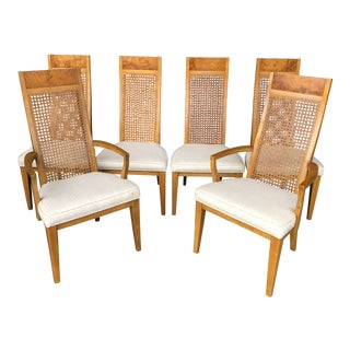 Vintage Lane Burl Wood Dining Chairs- Set of 6 For Sale