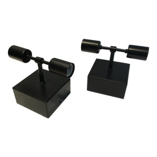 Custom Black Sconces/Ceiling Mount Lights - a Pair For Sale