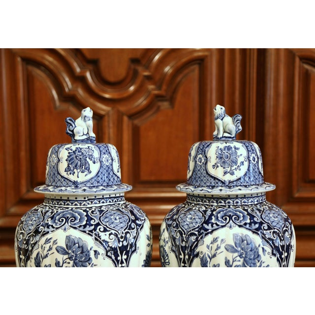 English Large Mid-20th Century Dutch Blue and White Maastricht Delft Ginger Jars - a Pair For Sale - Image 3 of 9