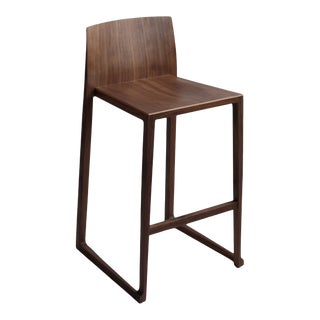 Counter Stool in Real Walnut Wood For Sale