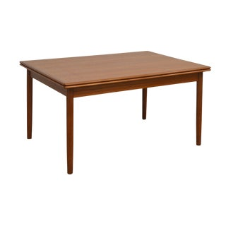 Danish Modern Vintage Teak Refectory Dining Table For Sale