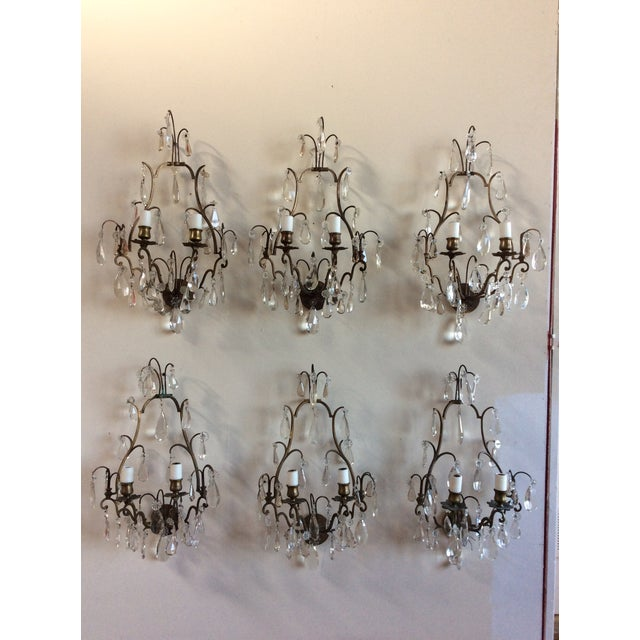 French Bronze & Crystal Wall Sconces - Set of 6 - Image 2 of 8