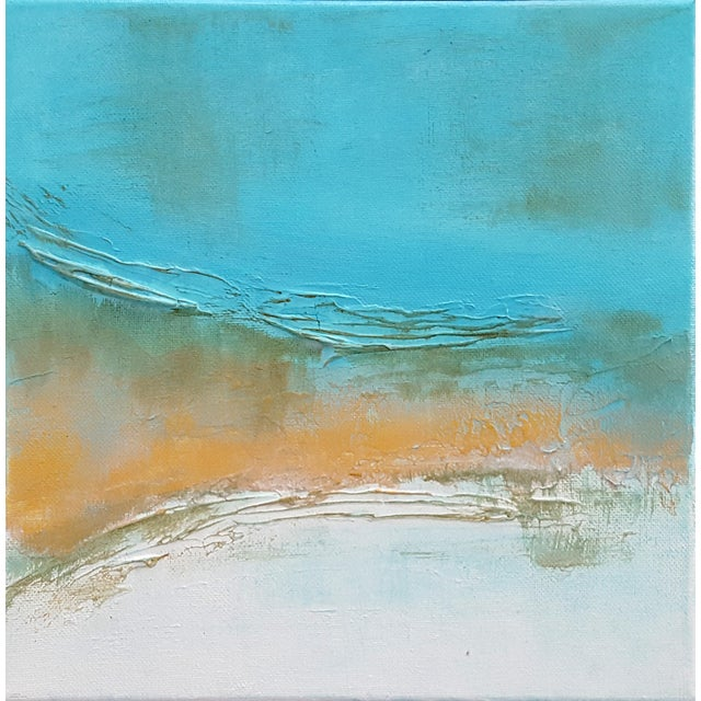 Abstract Modern Textured Metallic Gold & Turquoise Painting on Canvas For Sale - Image 4 of 4