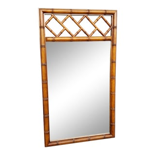 Mid Century Faux Bamboo Wood Mirror For Sale