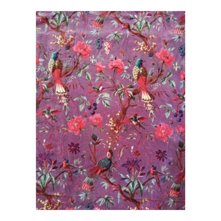 Cotton Velvet purple Chinoiseri Fabric, 3yds