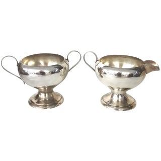 2-Piece Silver-Plate Art Deco-Style Cream & Sugar For Sale