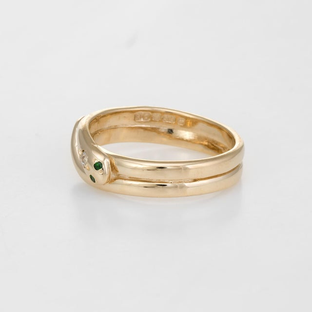 Vintage Snake Ring 9 Karat Yellow Gold Diamond Emerald Alternative Wedding Band For Sale - Image 4 of 8