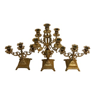 Antique Italian Brass Candelabra Trio - 3 Pieces For Sale