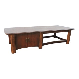 Mid Century Modern Coffee Table Tv Media Console With Cabinet For Sale