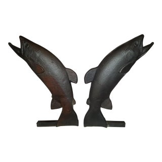 Vintage Cast Iron Trout Andirons - a Pair For Sale