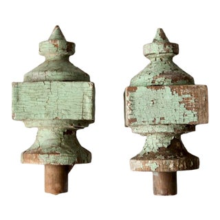 Antique Wood Finials Pair For Sale