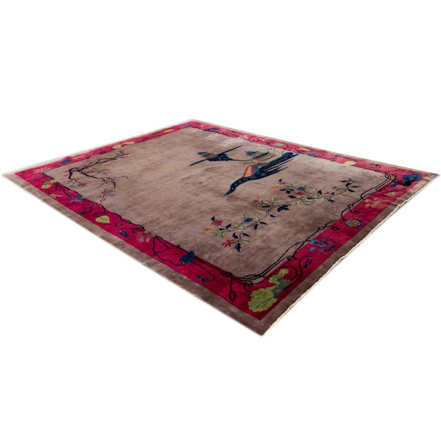Art Deco Vintage Purple Chinese Art Deco Wool Rug 9 Ft X 11 Ft 6 In. For Sale - Image 3 of 13