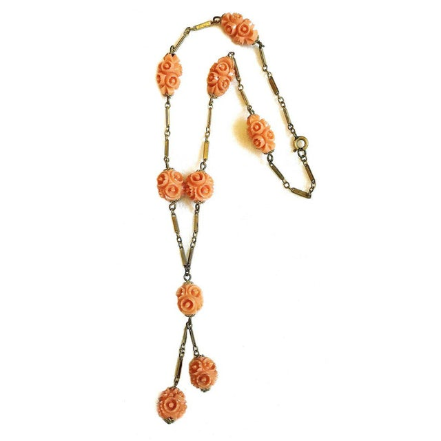 Traditional 1920s Vintage Coral Celluloid Carved Bead Necklace For Sale - Image 3 of 4