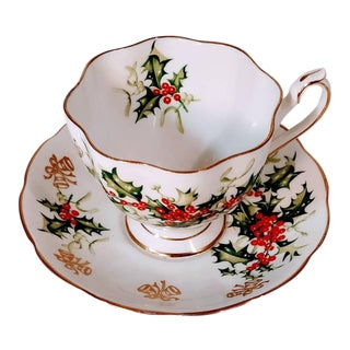 Early 20th Century Antique Yuletide English China Teacup and Saucer - 2 Pieces For Sale